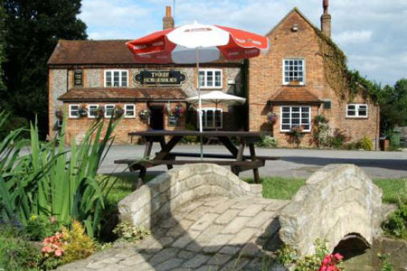 The popular Three Horseshoes pub sits at the heart of Towersey village.